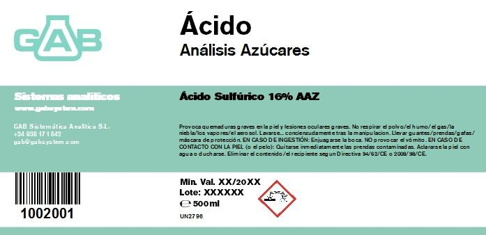 SUGAR ANALYSIS ACID - SUGAR ANALYSIS ACID 500 mL