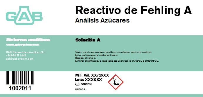 REACTIVO DE FEHLING A 500 ml - REACTIVO DE FEHLING A 500 ml