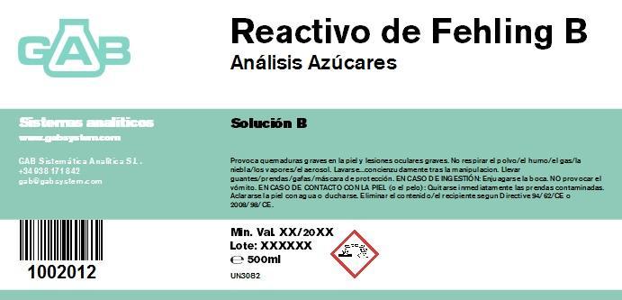 REACTIVO DE FEHLING B 500 ml - REACTIVO DE FEHLING B 500 ml