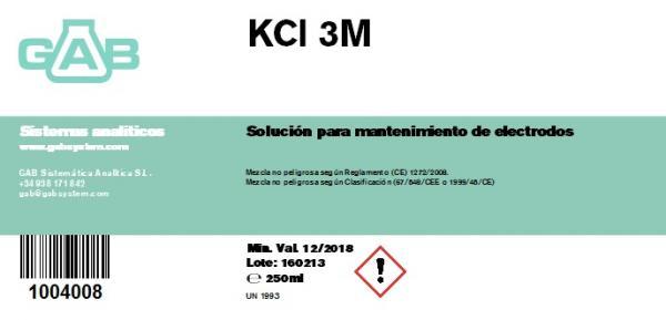 POTASIO CLORURO KCl 3M GAB - POTASIO CLORURO KCl 3M GAB 250 ml