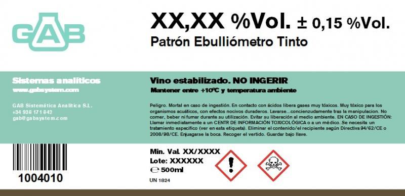 PATRON EBULLIOMETRO vino tinto - PATRON PARA EBULLIOMETRO GAB vino tinto 500 mL