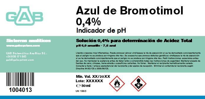 AZUL BROMOTIMOL 0.4 % GAB 50 ml - AZUL BROMOTIMOL 0,4 % GAB 50 ml