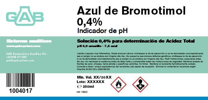 AZUL BROMOTIMOL 0.4 % GAB 250 ml - AZUL BROMOTIMOL 0,4 % GAB 250 ml