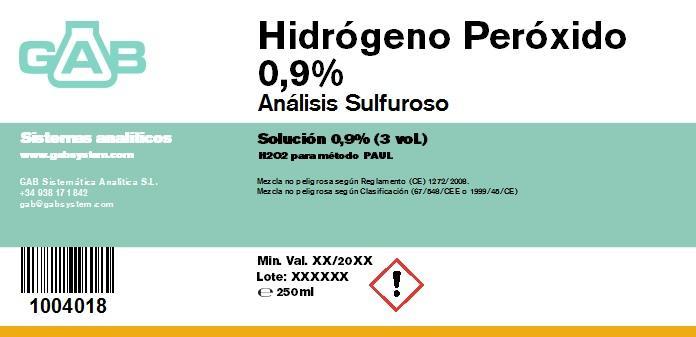 HIDROGENO PEROXIDO 0,9 % GAB - HIDROGENO PEROXIDO 0,9 % GAB 250 mL