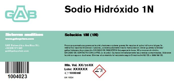 SODIO HIDROXIDO 1M (1N) GAB 1000 ml - SODIO HIDROXIDO 1M (1N) GAB 1000 ml