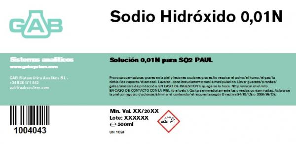 SODIO HIDROXIDO 0.01N 500 ml PAUL-RANKINE - SODIO HIDROXIDO 0.01N 500 ml PAUL-RANKINE