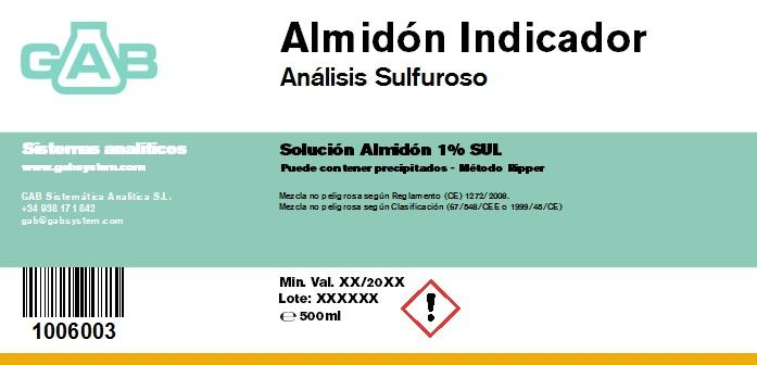 ANALISIS SULFUROSO (SO2) ALMIDON INDICADOR 500 mL - ANALISIS SULFUROSO (SO2) SOL. ALMIDON INDICADOR 500 mL