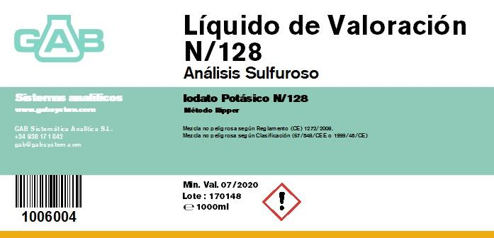 ANALISIS SULFUROSO (SO2) LIQ. VALORACION 1000 mL (Iodato Potasico N/128)  - ANALISIS SULFUROSO (SO2) LIQUIDO DE VALORACION 1000 mL