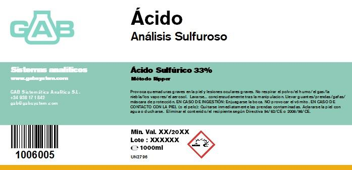 ANALISIS SULFUROSO (SO2) ACIDO 1000 mL - ANALISIS SULFUROSO SO2 ACIDO 1000 mL