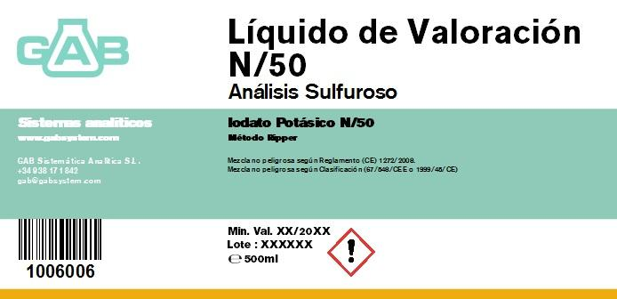 ANALISIS SULFUROSO (SO2) LIQ. VALORACION 500 mL (Iodato Potasico N/50) - ANALISIS SULFUROSO (SO2) LIQUIDO DE VALORACION 500 mL (Iodato Potasico N/50)
