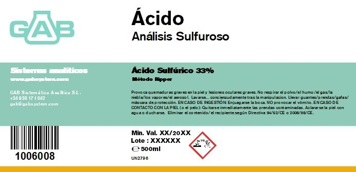 ANALISIS SULFUROSO (SO2) ACIDO 500 mL