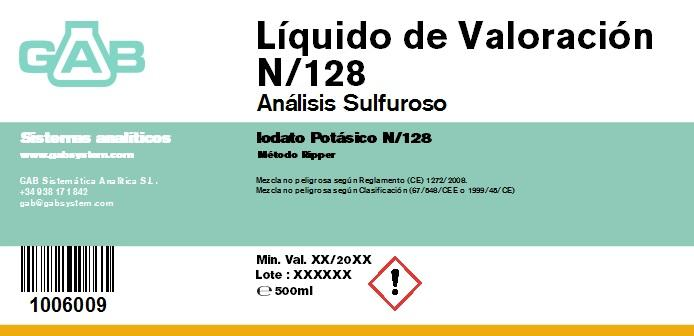 ANALISIS SULFUROSO (SO2) LIQ. VALORACION 500 mL (Iodato Potasico N/128) - ANALISIS SULFUROSO (SO2) LIQUIDO DE VALORACION 500 mL 