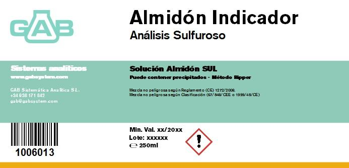 ANALISIS SULFUROSO (SO2) ALMIDON 250 ml - ANALISIS SULFUROSO (SO2) SOL.ALMIDON 250 mL