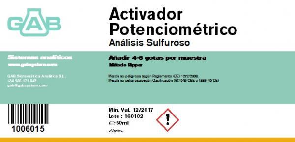 ACTIVADOR POTENCIOMETRICO para SO2, gotero 50 ml - ACTIVADOR POTENCIOMETRICO para SO2, gotero 50 ml