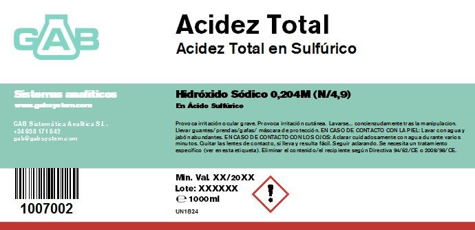 TOTAL ACIDEZ NaOH N/4,9 1000ml