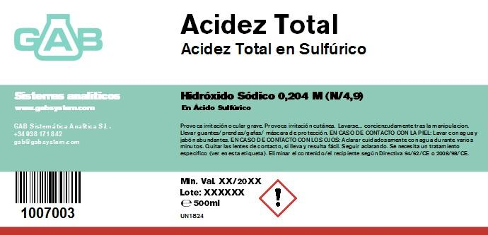 TOTAL ACIDEZ NaOH N/4,9 500ml - TOTAL  ACIDEZ NaOH N/4,9 500ml