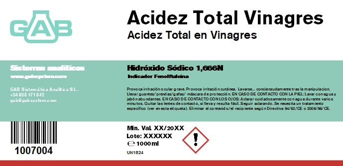 TOTAL ACIDEZ VINAGRES NaOH 1.666N 1000ml - TOTAL ACIDEZ VINAGRES NaOH 1.666N 1000ml