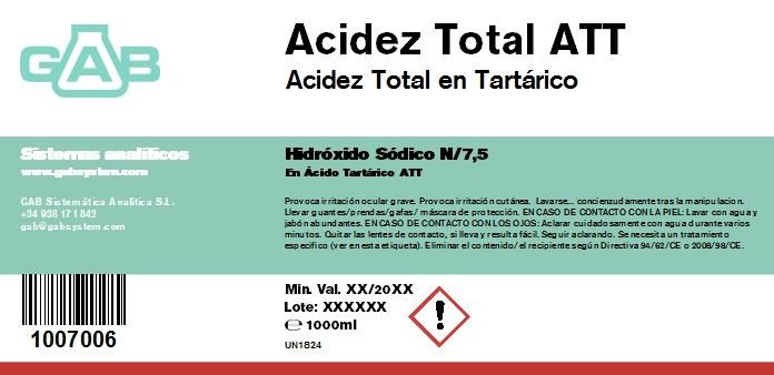 SODIO HIDROXIDO 0,1333 mol/L ACIDEZ TOTAL ATT GAB N/7.5 1000 ml - SODIO HIDROXIDO 0,1333 mol/L ACIDEZ TOTAL ATT GAB N/7.5 1000 ml