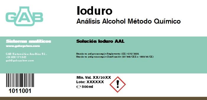 ALCOHOL ANALISIS GAB IODURO 500 ml AAL - ALCOHOL ANALISIS GAB IODURO 500 ml AAL