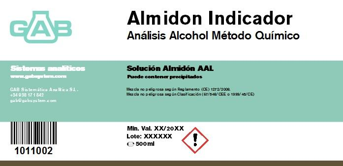 ALCOHOL ANALYSIS STARCH SOLUTION GAB 500 ml AAL - ALCOHOL ANALYSIS ALMIDON GAB 500 ml AAL