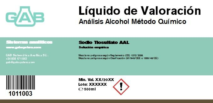 ALCOHOL ANALYSIS TITRATION REAGENT GAB 500 ml AAL - ALCOHOL ANALYSIS TITRATION REAGENT GAB 500 ml AAL