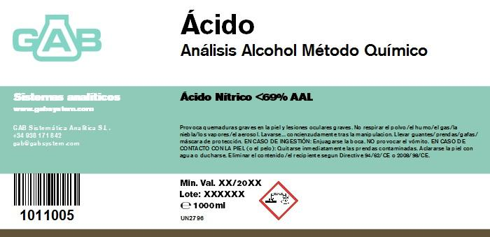 ALCOHOL ANALISIS GAB ACIDO NITRICO 53 % 1000 ml AAL - ALCOHOL ANALISIS GAB ACIDO NITRICO 53 % 1000 ml AAL