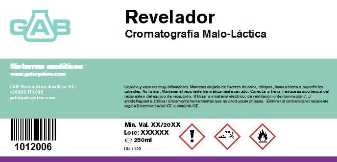 CROMATOGRAFIA REVELADOR (CML) 250 mL - CROMATOGRAFIA REVELADOR (CML) 250 mL