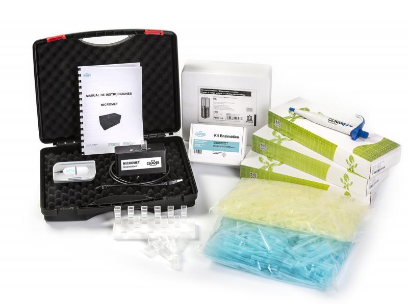 MICROMET Micro analizador ENZIMATICO; GAB; completo - MICROMET Micro analizador ENZIMATICO; GAB; kit COMPLETO con 3 micropipetas; 1/b. puntas azules; 1/b. puntas amarillas; 1/c. cubetas semi; soporte cubetas; software; cable USB, maletín, instrucciones + Kit a escoger.