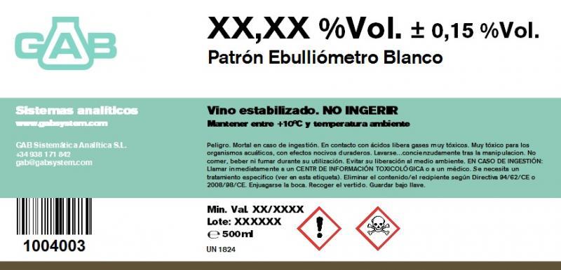 PATRON EBULLIOMETRO vino blanco - PATRON PARA EBULLIOMETRO GAB vino blanco 500 mL