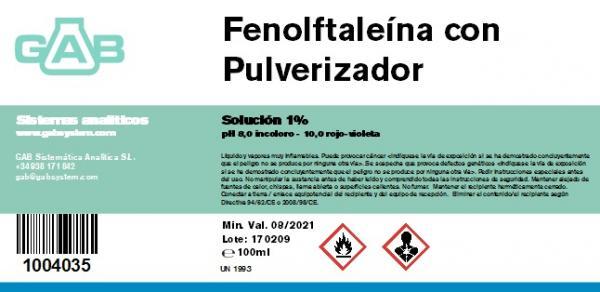 PHENOLPHTHALEIN solution 1% in 100 ml bottle with SPRAYER.