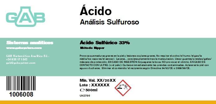 SULPHUR DIOXIDE ANALYSIS (SO2) ACID 500 mL