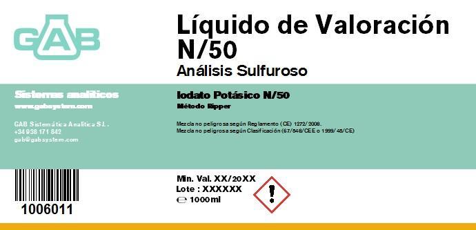 ANALISIS SULFUROSO (SO2) LIQ. VALORACION 1000 mL (Iodato Potasico N/50)