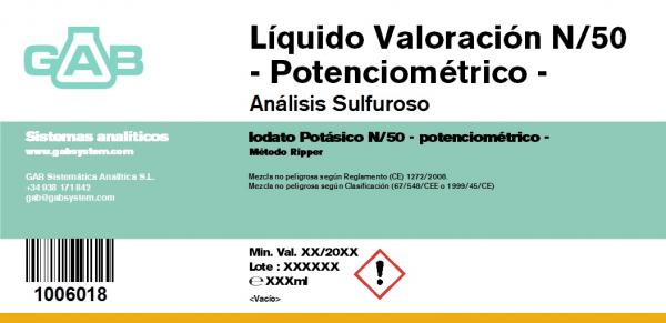 LIQUIDO VALORACION SO2 N/50 potenciométrico 1000 mL
