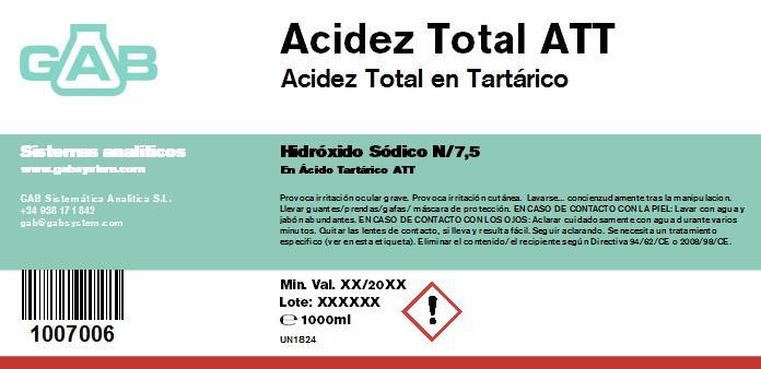 SODIO HIDROXIDO 0,1333 mol/L ACIDEZ TOTAL ATT GAB N/7.5 1000 ml